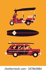 Vector modern flat design items on hot summer exotic destination vacation, beach water activities recreation, surfing with tuk tuk auto rickshaw tricycle, surfboard and retro woodie wagon surf car