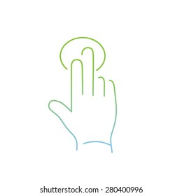 vector modern flat design linear icon of tapping hand with two fingers gesture | thin line pictogram with green and blue gradient isolated on white background