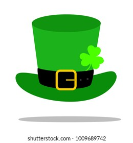 Vector modern flat design on Saint Patrick's Day leprechaun's green hat with colover leaf illustration