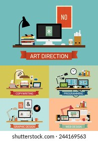 Vector modern flat design on creative studio | Set of trendy website covers with various company department workspace interiors