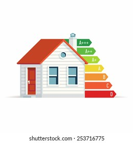 Vector modern flat design on home energy efficiency   Energy consumption levels for residential area concept illustration