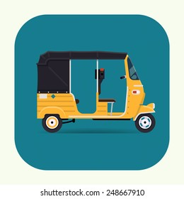 Vector modern flat design round corners transport vehicle icon on exotic destination countries baby taxi auto rickshaw tuk tuk three wheeler tricycle