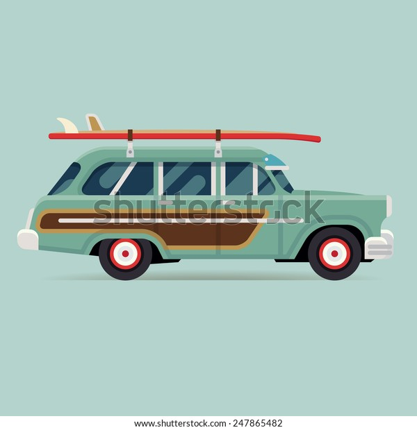 Vector modern flat design round corners transport vehicle icon on surf trip destination retro woodie wagon car with surfboards
