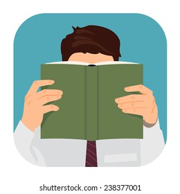 Vector modern flat design rounded corners square icon on man reading book with empty green cover | Male character with face hidden behind the book in his hands