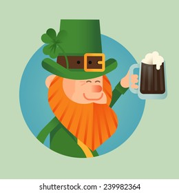 Vector modern flat design Saint Patrick's day character leprechaun icon holding pint of stout, smiling and cheering