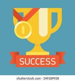 Vector modern flat design square web icon on success, victory golden bowl prize and medal award, winning and achievement