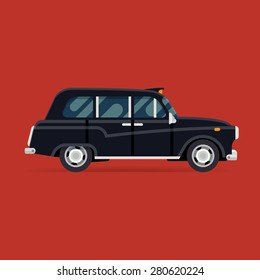 Vector modern flat design square web icon on commercial transport London classic black taxi cab, isolated, side view | Retro hackney carriage black taxi automobile
