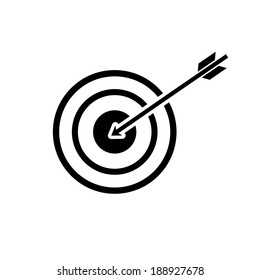 vector modern flat design target to goal and focus soft skills icon wit arrow black isolated on white background
