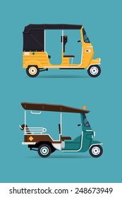 Vector modern flat design transport vehicle icons on exotic destination oriental countries baby taxi auto rickshaw tuk tuk three wheeler tricycles