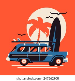 Vector modern flat design wall art on summer vacation on surf beach featuring retro woody car with surfing boards and palm silhouette on large sun circle