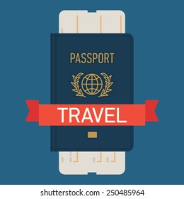 Vector modern flat design web icon on travel and tourism featuring blue covered passport with boarding pass airline ticket, isolated