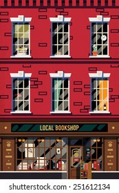 Vector modern flat design web banner or printable poster background on downtown brick building structure facade with detailed windows and old fashioned antiquarian book shop front on ground floor