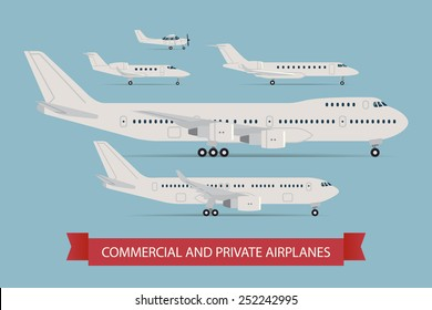 Vector modern flat design web icons on flying commercial and private personal transport passenger jet and single engine air planes, airliner, business jet, jumbo jet, side view, isolated