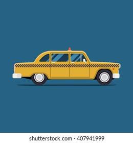 vector modern flat design. Yellow Taxi car New York. City service transport icon