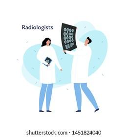 Vector modern flat doctor profession person illustration. Radiologist in coat with scan image discussing. Memphis fluid shape isolated on white background. Design element of radiology department