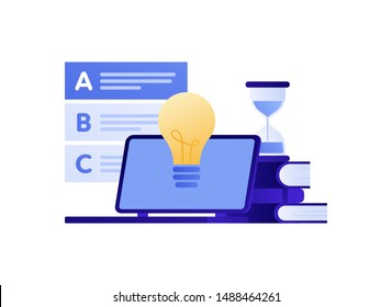 Vector modern flat education exam illustration. Laptop with lamp idea symbol, answer to test checklist. Concept of online university study, college examination Design for poster, flyer, card, banner