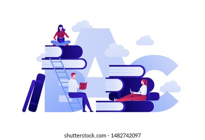 Vector modern flat education illustration. Group of people sitting studing and reading on book and stairway in clouds isolated on white background. Design for posters, flyers, cards, web banners