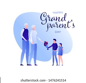 Vector modern flat grandparents day holiday banner template. Grandfather and grandmother character with kid giving bouquet of flowers. Design for poster, invitation, card, greeting, congratulation.