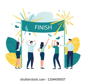 Vector modern flat illustration, the concept of success, reach the goal, come first to the finish line, take the leadership positions, celebrate the victory