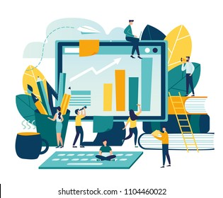 Vector modern flat illustration, concept of success, reach a goal, vector illustration of business, employees study infographics, analyze evolutionary scale, online training