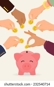 Vector modern flat illustration on multiple hands putting coins into the money box | Happy piggy bank receiving coins | Crowd funding concept illustration