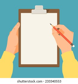 Vector modern flat illustration on hands holding clipboard with empty sheet of paper and pencil | Clipboard with blank paper and pencil in the hands of a man