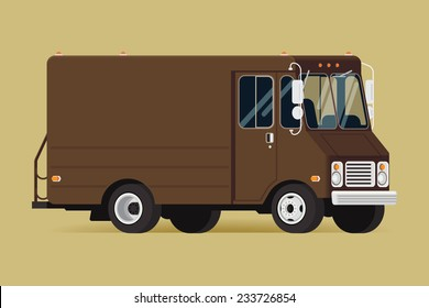 Vector modern flat illustration on local delivery service van | Brown shipping service truck isolated