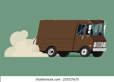 Vector modern flat illustration on riding delivery service van | Brown shipping service truck running fast leaving clouds of dust behind