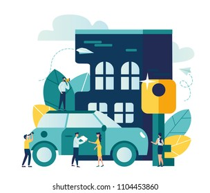 Vector modern flat illustration, sale, leasing, buying or renting a car or a house