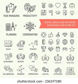 Vector modern flat line design icons set on business, social media, digital management, networking, task managing, coordination, gamification, marketing, training, development, planning, goals, rules