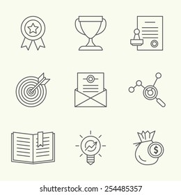 Vector modern flat line design icons set on business, social media, digital management, networking, task managing, coordination, gamification, marketing, training, development, planning, goals, rules