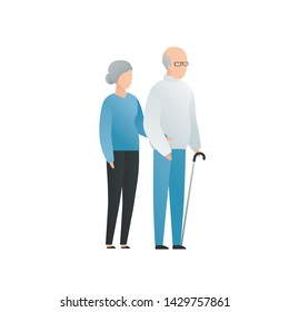 Vector modern flat old family character illustration. Cute aged couple male and female staying and holding hands isolated on white background. Aged people with grey hair and cane
