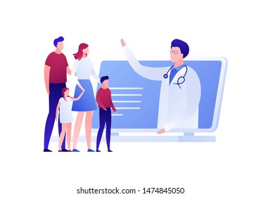 Vector modern flat online doctor illustration. Laptop with man doctor talking with family isolated on white background. Design for web clinic, hospital, service, diagnostic, advertisment