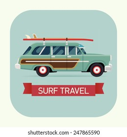 Vector modern flat square transport vehicle icon on surf trip destination retro woodie wagon car with surfboards