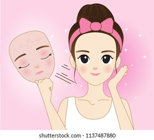Vector modern flat style cartoon character illustration. A girl with no problem from her skin with acne. Such as lifting the mask.