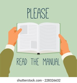 Vector modern flat style concept illustration on manual reading recommendation | Poster template on importance of reading user manual | Hands holding book