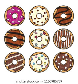 vector modern flat style icons of glazed colorful donuts with glaze, chocolate and sprinkles, isolated doughnuts on white background. simple donut icon design, glazed doughnut top view