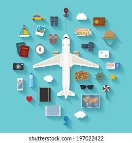 Vector modern flat style icons set for tourism industry, traveling on airplane, planning summer vacations.