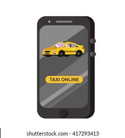 Vector modern flat  Taxi online app