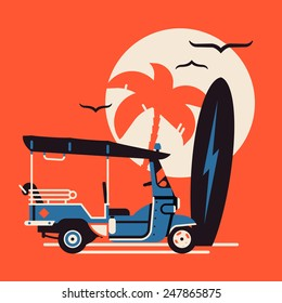 Vector modern flat wall art poster design on hot summer exotic destination vacation, beach water activities recreation, surfing with tuk tuk auto rickshaw tricycle, palm on sun, surfboard and seagulls