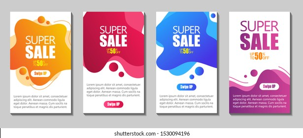 Vector Modern Fluid For Big Sale Banners Design. Discount Banner Promotion Template. Dynamic modern fluid mobile for sale banners. Sale banner template design, Super sale special offer set.