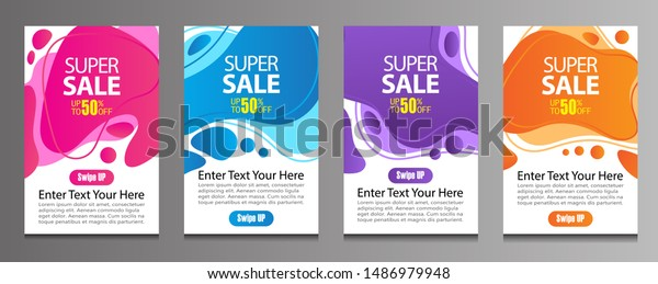 Vector Modern Fluid For Big Sale Banners Design. Discount Banner Promotion Template. Special offer and sale banner discount up to 50% template design with editable text.