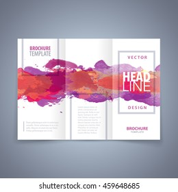 Vector modern flyer, poster or tri-fold brochure design template with red watercolor texture
