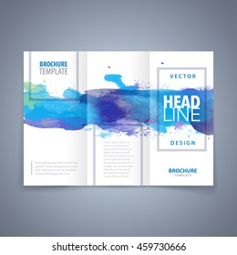 Vector modern flyer, poster or tri-fold brochure design template with blue watercolor texture