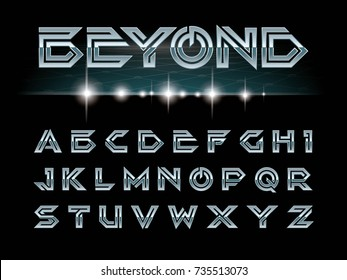 Vector of Modern font and alphabet, Bronze letters set, Letters set for sci-fi, military,