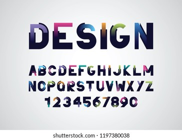 vector of modern  font and alphabet with a gradient