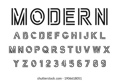 Vector modern font. Alphabet and numbers.