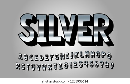 Vector of modern font and alphabet, typeface, letters and numbers, typography - Vector