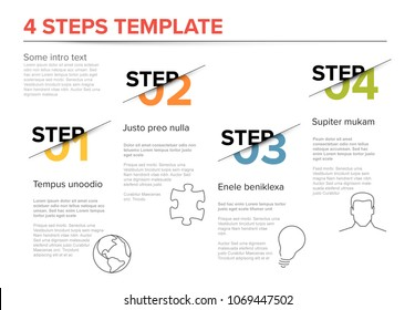 Vector modern four steps progress template with descriptions and icons