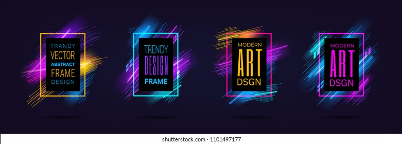Vector modern frames with dynamic neon glowing lines isolated on black background. Art graphics with laser effect. Design element for business cards, gift cards, invitations, flyers, brochures.